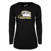 Ladies Syntrel Performance Black Longsleeve Shirt-Athletic Logo