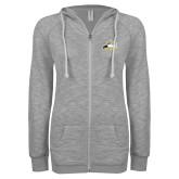 ENZA Ladies Grey/Black Marled Full Zip Hoodie-Athletic Logo
