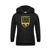 Youth Black Fleece Hoodie-Soccer Shield Design
