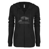 ENZA Ladies Black Light Weight Fleece Full Zip Hoodie-Official Logo Glitter Graphite Soft