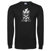 Black Long Sleeve T Shirt-Oglethorpe Crest Distressed