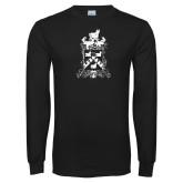 Black Long Sleeve T Shirt-Oglethorpe Crest Distressed