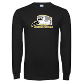 Black Long Sleeve T Shirt-Athletic Logo Distressed