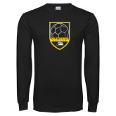 Black Long Sleeve T Shirt-Soccer Shield Design