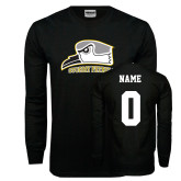 Black Long Sleeve T Shirt-Athletic Logo, Custom Tee w/ Name and #
