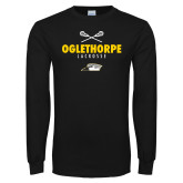 Black Long Sleeve T Shirt-Lacrosse Crossed Sticks
