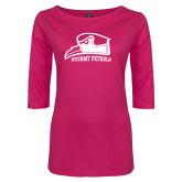 Ladies Dark Fuchsia Perfect Weight 3/4 Sleeve Tee-Athletic Logo