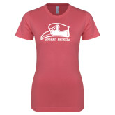 Next Level Ladies SoftStyle Junior Fitted Pink Tee-Athletic Logo