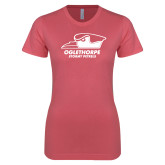 Next Level Ladies SoftStyle Junior Fitted Pink Tee-Primary Athletics Logo