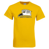 Gold T Shirt-Athletic Logo Distressed