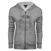 ENZA Ladies Grey Fleece Full Zip Hoodie-Official Logo Glitter Graphite Soft