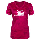 Ladies Pink Raspberry Camohex Performance Tee-Athletic Logo