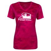 Ladies Pink Raspberry Camohex Performance Tee-Athletic Logo