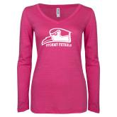ENZA Ladies Hot Pink Long Sleeve V Neck Tee-Athletic Logo