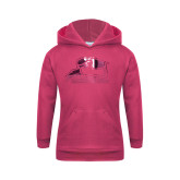 Youth Raspberry Fleece Hoodie-Athletic Logo