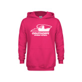Youth Raspberry Fleece Hoodie-Primary Athletics Logo