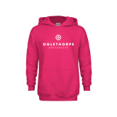 Youth Raspberry Fleece Hoodie-Primary University Logo