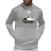 Adidas Grey Team Issue Hoodie-Primary Athletics Logo