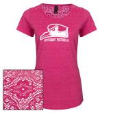 Ladies Dark Fuchsia Heather Tri-Blend Lace Tee-Athletic Logo