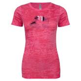 Next Level Ladies Junior Fit Fuchsia Burnout Tee-Athletic Logo