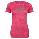Next Level Ladies Junior Fit Fuchsia Burnout Tee-A Silver Soft Glitter