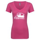 Next Level Ladies Junior Fit Deep V Pink Tee-Athletic Logo