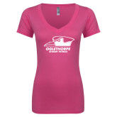 Next Level Ladies Junior Fit Ideal V Pink Tee-Primary Athletics Logo