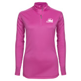 Ladies Syntrel Interlock Raspberry 1/4 Zip-Athletic Logo