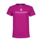 Youth Cyber Pink T Shirt-Primary University Logo