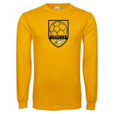 Gold Long Sleeve T Shirt-Soccer Shield Design