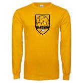 Gold Long Sleeve T Shirt-Soccer Shield Design