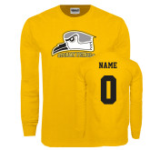 Gold Long Sleeve T Shirt-Athletic Logo, Custom Tee w/ Name and #