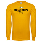Gold Long Sleeve T Shirt-Abstract Basketball
