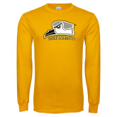 Gold Long Sleeve T Shirt-Athletic Logo Distressed