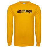 Gold Long Sleeve T Shirt-Oglethorpe Arched Collegiate