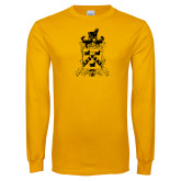 Gold Long Sleeve T Shirt-Oglethorpe Crest Distressed