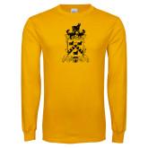 Gold Long Sleeve T Shirt-Oglethorpe Crest Distressed