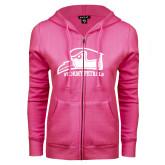 ENZA Ladies Fuchsia Fleece Full Zip Hoodie-Athletic Logo