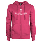ENZA Ladies Fuchsia Fleece Full Zip Hoodie-Primary University Logo