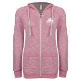ENZA Ladies Hot Pink Marled Full Zip Hoodie-Athletic Logo