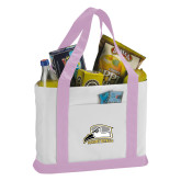 Contender White/Pink Canvas Tote-Athletic Logo