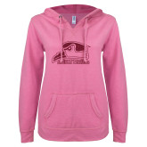 ENZA Ladies Hot Pink V Notch Raw Edge Fleece Hoodie-Official Logo Hot Pink Glitter