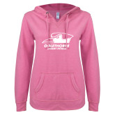 ENZA Ladies Hot Pink V Notch Raw Edge Fleece Hoodie-Primary Athletics Logo