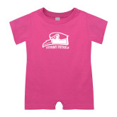 Bubble Gum Pink Infant Romper-Athletic Logo
