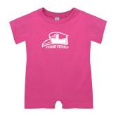 Bubble Gum Pink Infant Romper-Athletic Logo