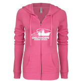 ENZA Ladies Hot Pink Light Weight Fleece Full Zip Hoodie-Primary Athletics Logo