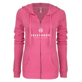 ENZA Ladies Hot Pink Light Weight Fleece Full Zip Hoodie-Primary University Logo