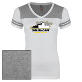 Ladies White/Heathered Grey Juniors Varsity V Neck Tee-Primary Athletics Logo