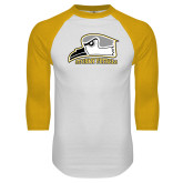 White/Gold Raglan Baseball T Shirt-Athletic Logo