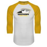 White/Gold Raglan Baseball T Shirt-Primary Athletics Logo